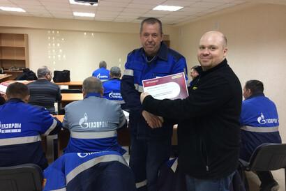 Вручение сертификата о прохождении обучения по эксплуатации КМУ PALFINGER
