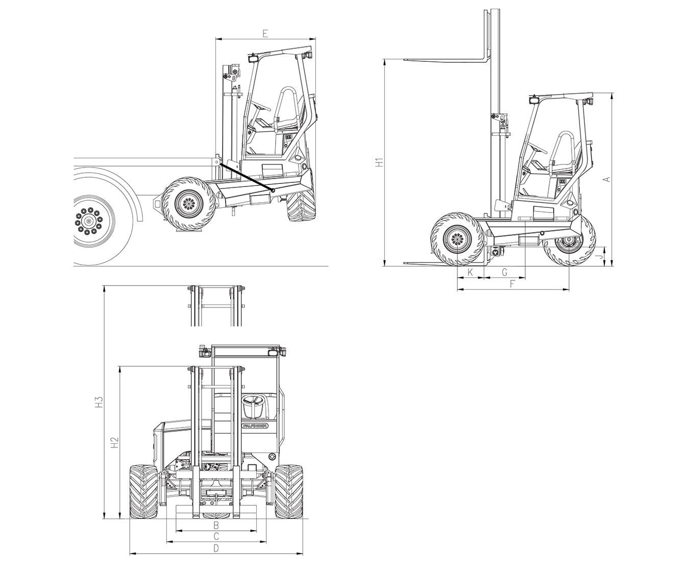 PALFINGER GLS 55 Standard Technical Drawings
