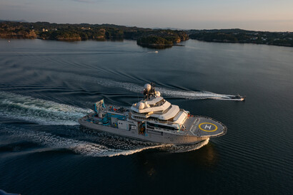 © OceanX / Andy Mann; PALFINGER was selected as one of the major deck equipment suppliers for the world's most advanced research vessel, OceanXplorer.