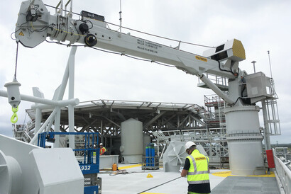 There will be two of the PTM 1800 telescopic cranes (shown here) on the Offshore Substations (OSS) of the Greater Changhua 1 & 2a Offshore Wind Farms.
