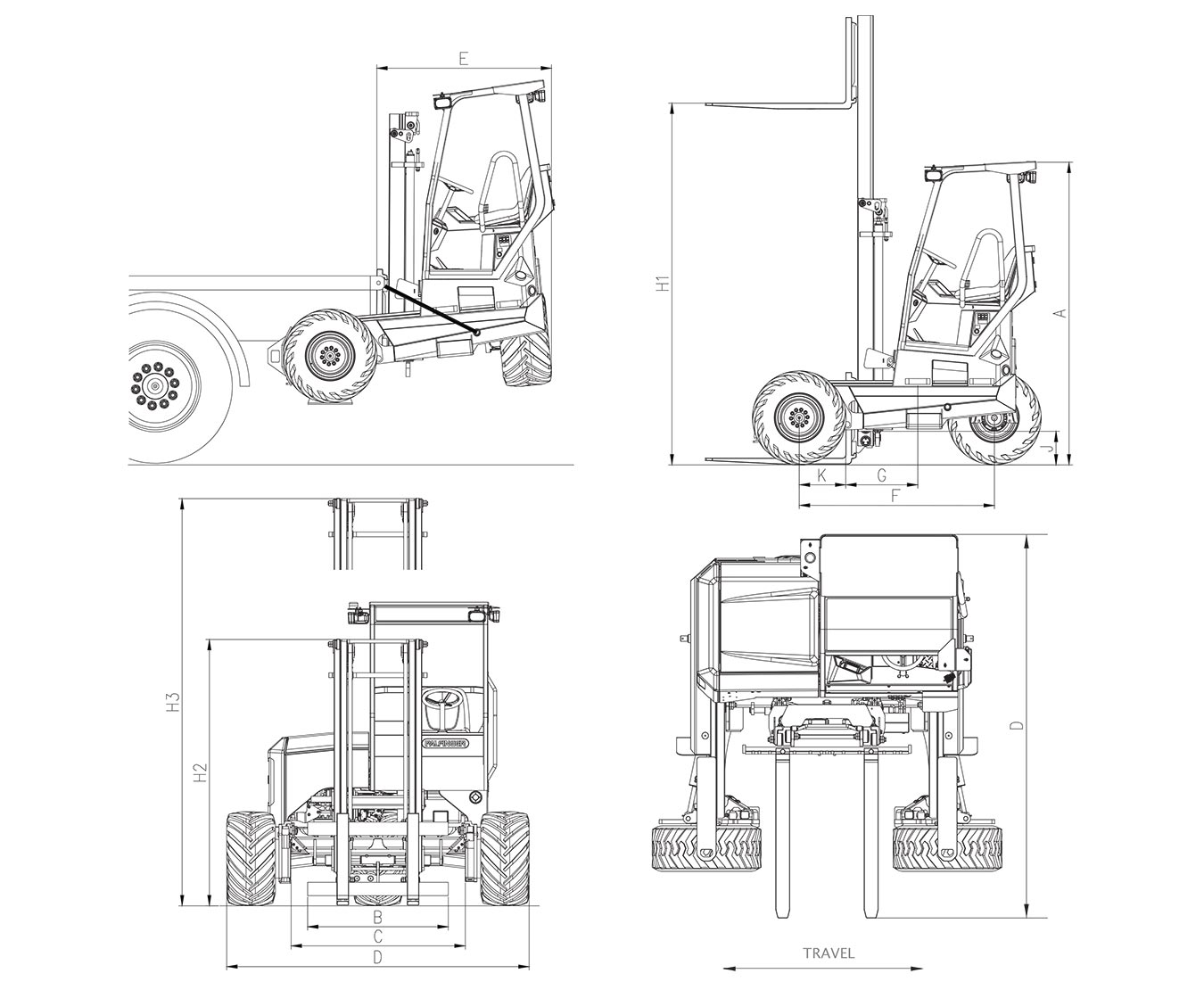 PALFINGER GLS 55 4WAY Standard Technical Drawings